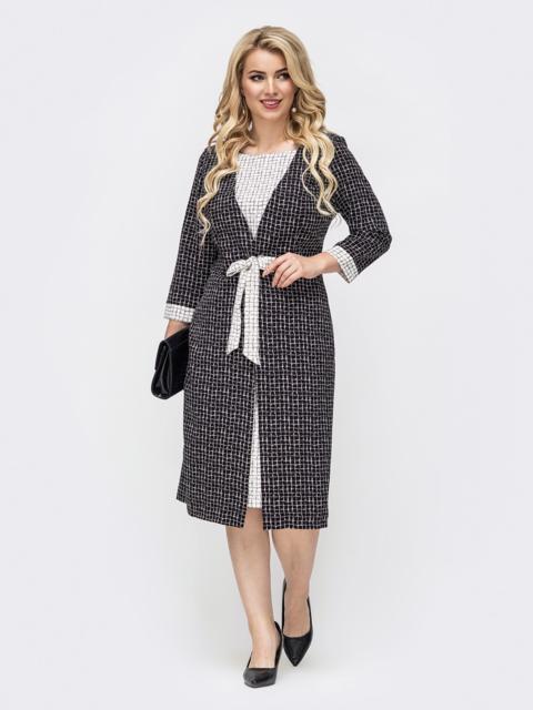 Приталенное платье большого размера с принтом чёрное 50860, фото 1