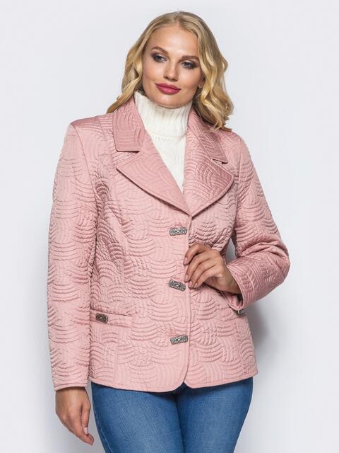 Розовая куртка на пуговицах с прорезными карманами - 16765, фото 1 – интернет-магазин Dressa