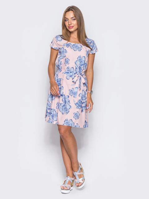 Розовое платье с коротким рукавом в цветочный принт - 11419, фото 1 – интернет-магазин Dressa
