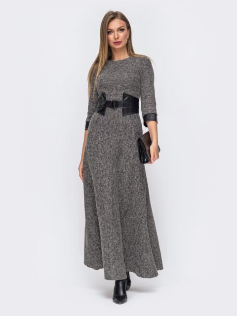 Серое платье с вшитым поясом из эко-кожи 50885, фото 1