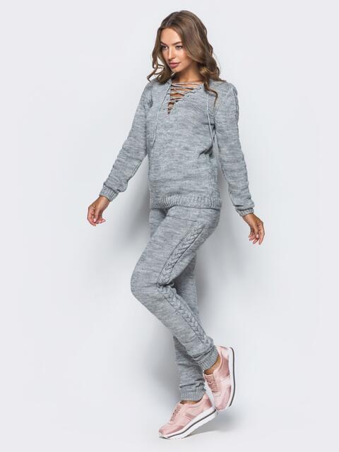 Серый вязаный комплект со шнуровкой на свитере - 16090, фото 3 – интернет-магазин Dressa