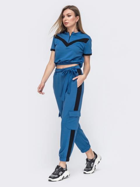 Спортивный костюм из футболки и штанов-карго голубой - 45564, фото 1 – интернет-магазин Dressa
