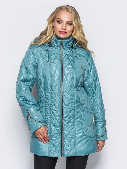 Удлиненная куртка с регулируемым капюшоном и карманами голубая - 16762, фото 1 – интернет-магазин Dressa