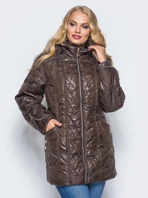 Удлиненная куртка с регулируемым капюшоном и карманами коричневая - 16761, фото 1 – интернет-магазин Dressa