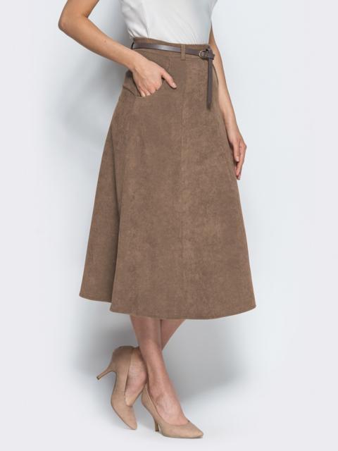Вельветовая юбка А-силуэта с прорезными карманами бежевая - 14317, фото 1 – интернет-магазин Dressa