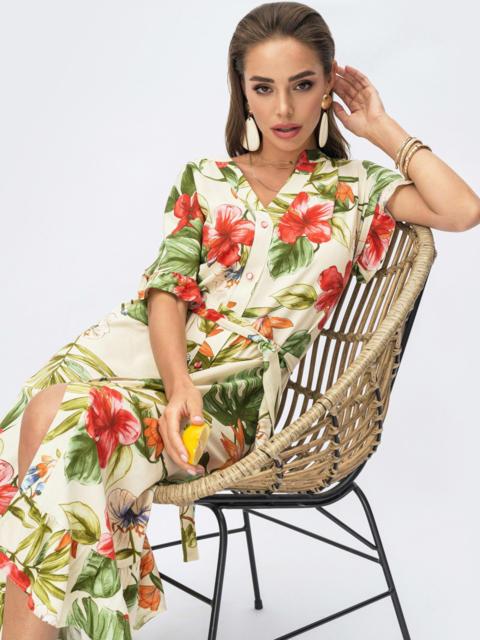 Платье из штапеля с цветочным принтом на пуговицах желтое 54311, фото 1