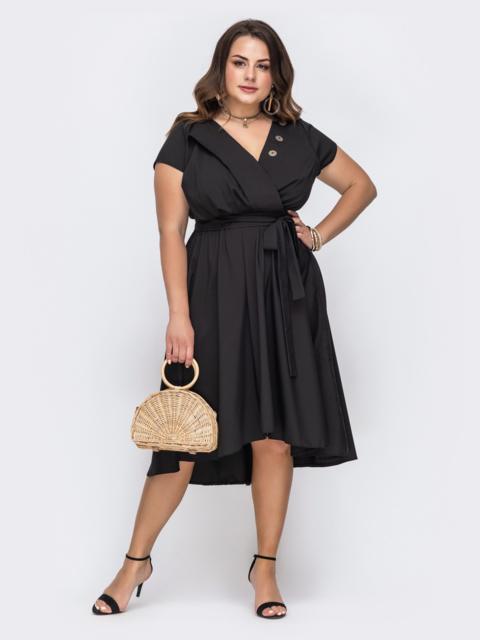Чёрное платье большого размера с расклешенной юбкой 49696, фото 1