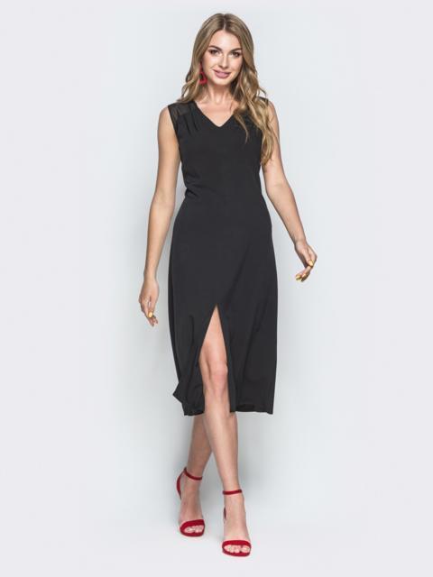 Чёрное платье с V-вырезом и разрезом спереди - 38919, фото 1 – интернет-магазин Dressa