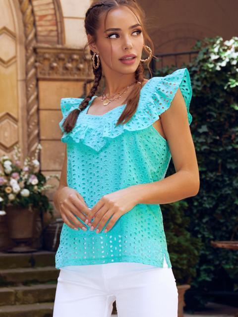 Голубая блузка из прошвы без рукавов с оборкой 54314, фото 1