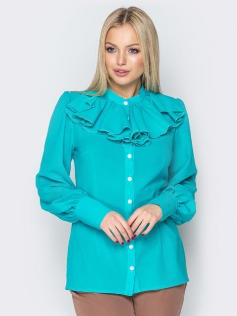 Голубая блузка на пуговицах с воротником-жабо - 20147, фото 1 – интернет-магазин Dressa