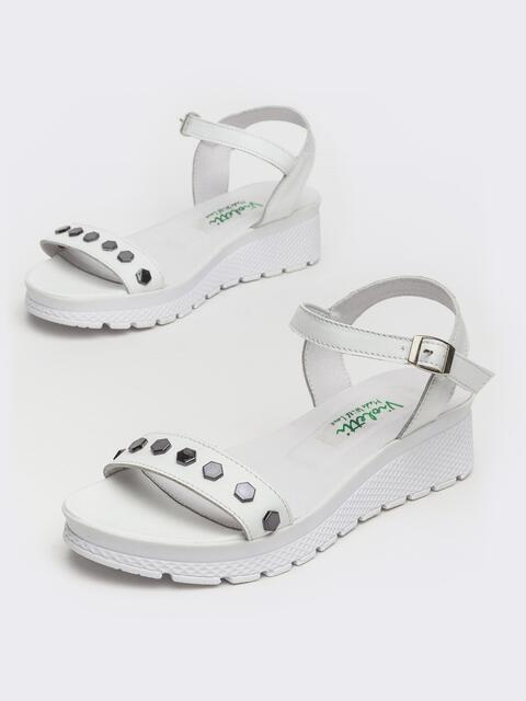 Кожаные босоножки белого цвета - 39686, фото 1 – интернет-магазин Dressa