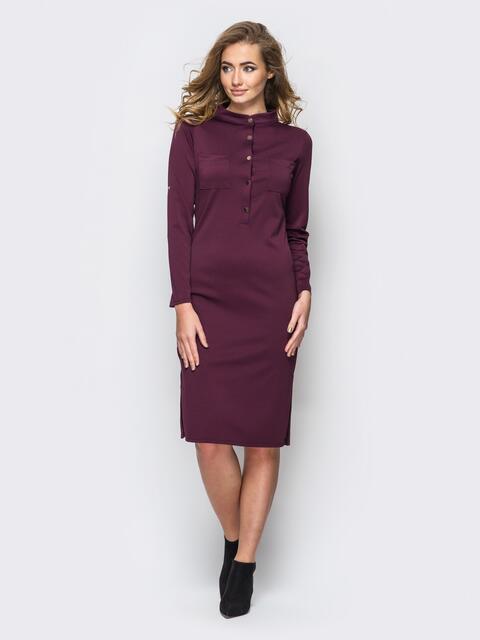 Платье полуприталенного кроя с функциональными шлевками бордовое - 13803, фото 1 – интернет-магазин Dressa