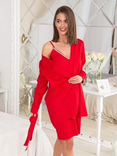 e8052bdd0 Сатиновый комплект из халата и сорочки красный - 20471, фото 1 –  интернет-магазин