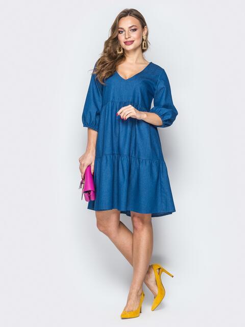 Синее платье из джинса с манжетами на резинке - 19280, фото 1 – интернет-магазин Dressa