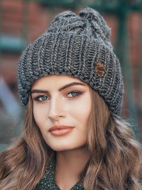 Темно-серая шапка-колпак объемной вязки - 14970, фото 1 – интернет-магазин Dressa