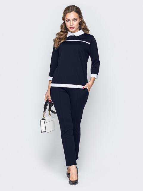Тёмно-синий комплект с имитацией рубашки на кофте - 20193, фото 1 – интернет-магазин Dressa