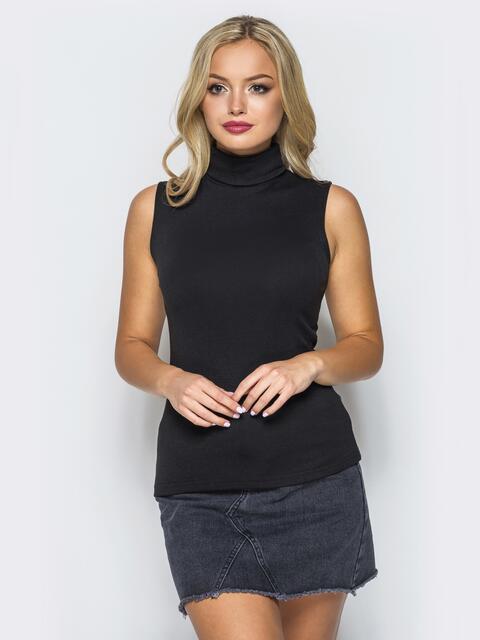 Вискозный гольф черного цвета без рукавов - 16935, фото 1 – интернет-магазин Dressa