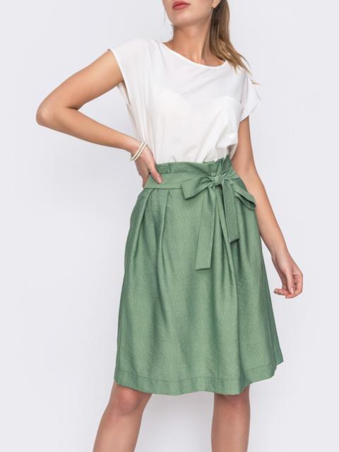 Зеленая юбка с вшитым поясом 48641, фото 1