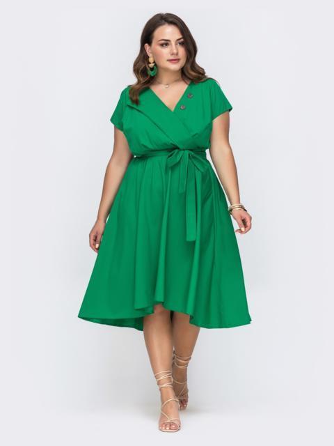 Зеленое платье большого размера с расклешенной юбкой 49697, фото 1