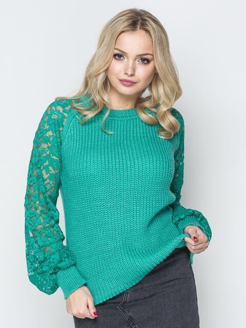 Бирюзовый свитер с рукавами-реглан из гипюра - 20127, фото 1 – интернет-магазин Dressa