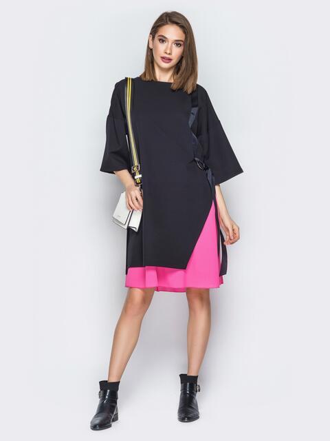 Чёрное платье oversize с розовой юбкой - 20013, фото 1 – интернет-магазин Dressa