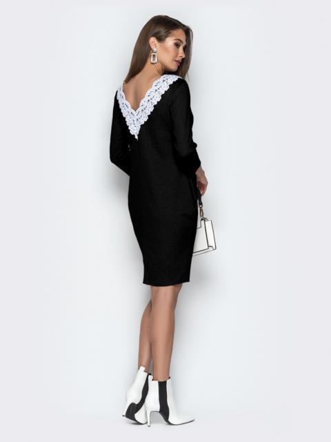 Чёрное платье свободного кроя с карманами - 42093, фото 1 – интернет-магазин Dressa