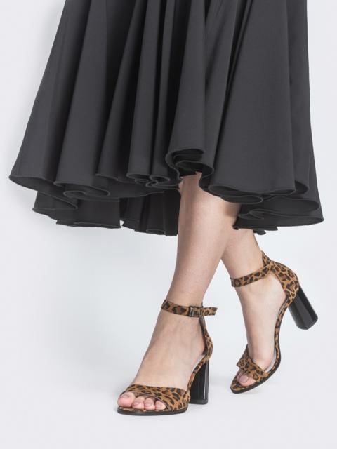 Леопардовые босоножки с устойчивым каблуком - 39103, фото 1 – интернет-магазин Dressa