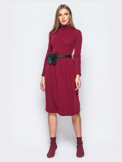Платье из ангоры бордового цвета с юбкой с мягкими складами - 17523, фото 1 – интернет-магазин Dressa