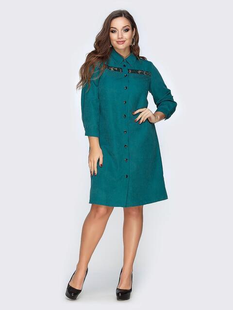 Платье-рубашка бирюзового цвета с гипюром - 19153, фото 1 – интернет-магазин Dressa