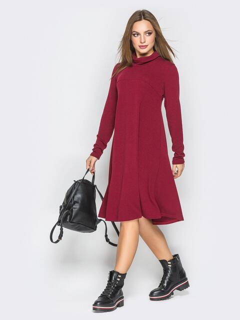 Платье-трапеция бордового цвета из ангоры - 18701, фото 1 – интернет-магазин Dressa