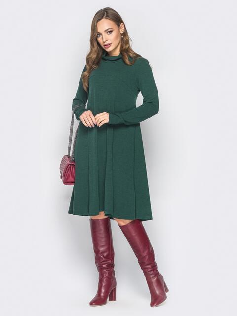 Платье-трапеция зелёного цвета из ангоры - 18699, фото 1 – интернет-магазин Dressa
