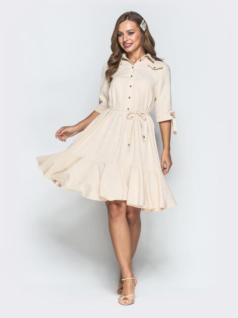 Приталенное платье из льна с оборкой по низу пудровое - 39552, фото 1 – интернет-магазин Dressa