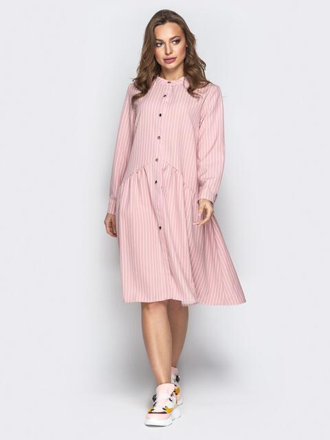 Пудровое платье-рубашка свободного кроя в полоску - 20956, фото 1 – интернет-магазин Dressa