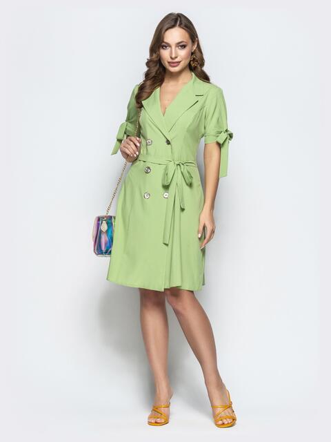 Салатовое платье-пиджак с завязками на рукавах 21974, фото 1
