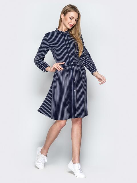 Тёмно-синее платье-рубашка свободного кроя в полоску - 20957, фото 1 – интернет-магазин Dressa