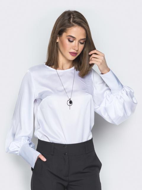 Белая блузка с объёмными рукавами на широких манжетах 20144, фото 1
