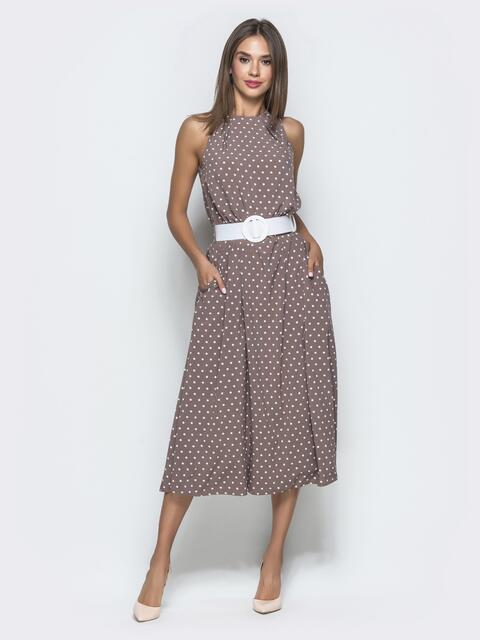 Бежевое платье в горох приталенного кроя с американской проймой - 40129, фото 1 – интернет-магазин Dressa
