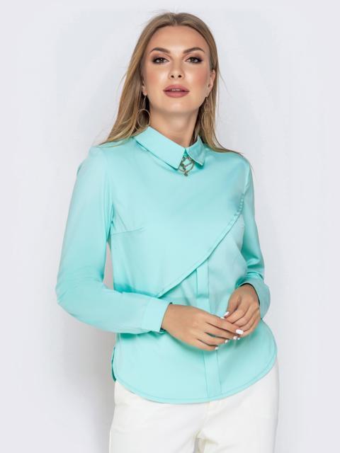 Блузка из софта бирюзового цвета - 40969, фото 1 – интернет-магазин Dressa
