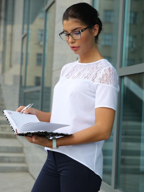 Блузка с кружевной кокеткой - 10225, фото 1 – интернет-магазин Dressa