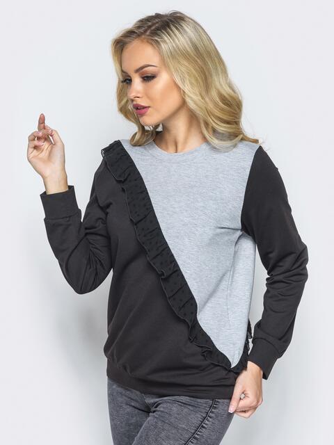 Черно-серый свитшот с оборкой из шифона на полочке - 16161, фото 1 – интернет-магазин Dressa