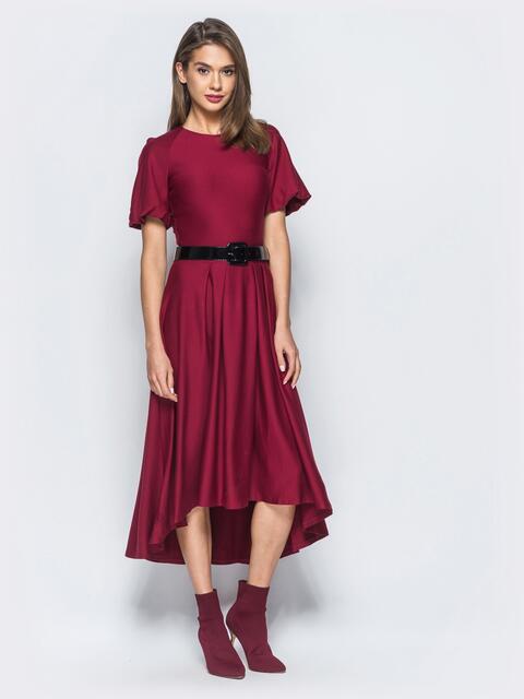 Платье бордового цвета с удлиненной спинкой и лаковым поясом в комплекте - 17835, фото 1 – интернет-магазин Dressa