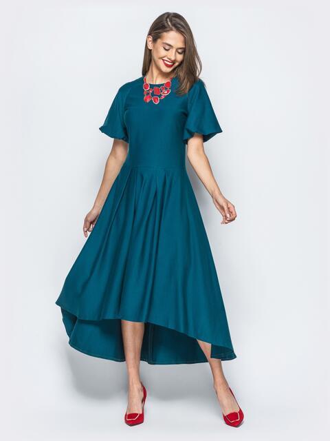 Платье зелёного цвета с удлиненной спинкой и лаковым поясом в комплекте - 17834, фото 1 – интернет-магазин Dressa