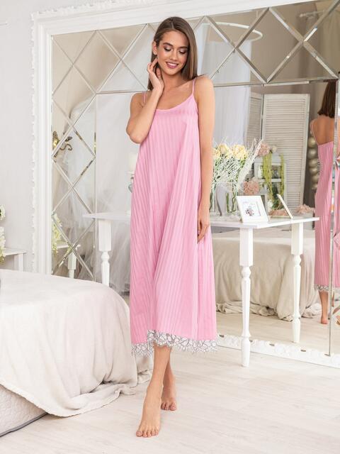 Розовая ночная сорочка с оборкой - 20466, фото 1 – интернет-магазин Dressa