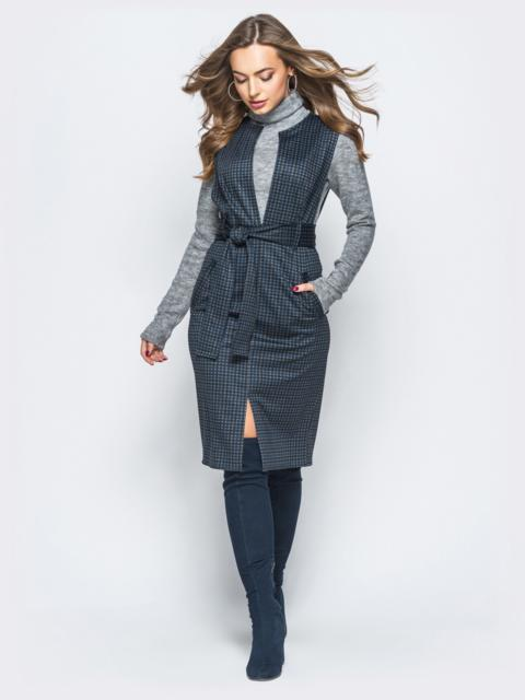 Серый сарафан с глубоким V-вырезом и поясом в комплекте - 17837, фото 1 – интернет-магазин Dressa