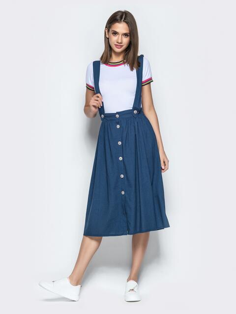Синяя юбка из льна на широких бретелях - 22044, фото 1 – интернет-магазин Dressa