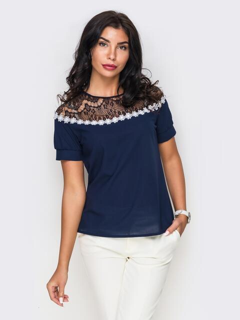 Темно-синяя блузка с черным кружевом и ромашками - 10051, фото 1 – интернет-магазин Dressa
