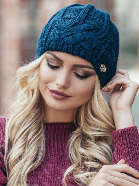 Темно-синяя шапка с узором на флисе - 15320, фото 3 – интернет-магазин Dressa