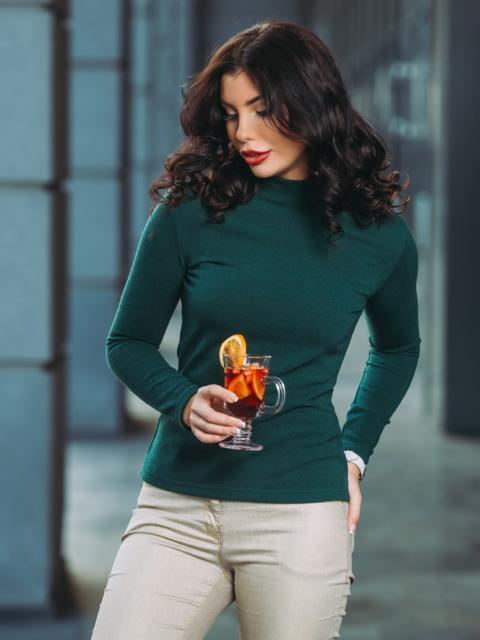 Трикотажный гольф зелёного цвета с длинным рукавом - 22160, фото 1 – интернет-магазин Dressa