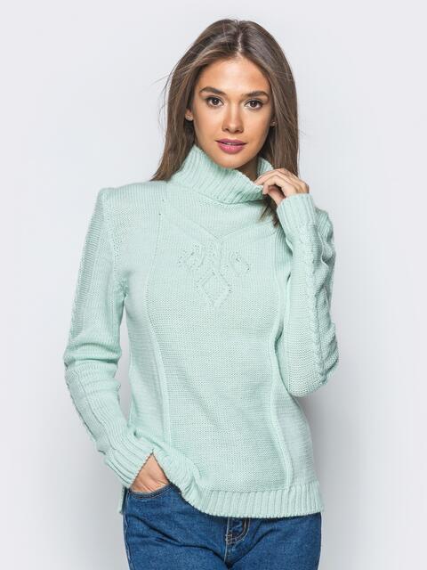 Вязаный свитер бирюзового цвета с высоким воротником - 17085, фото 1 – интернет-магазин Dressa