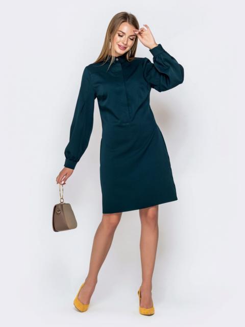 Зеленое платье-рубашка с карманами 40848, фото 1